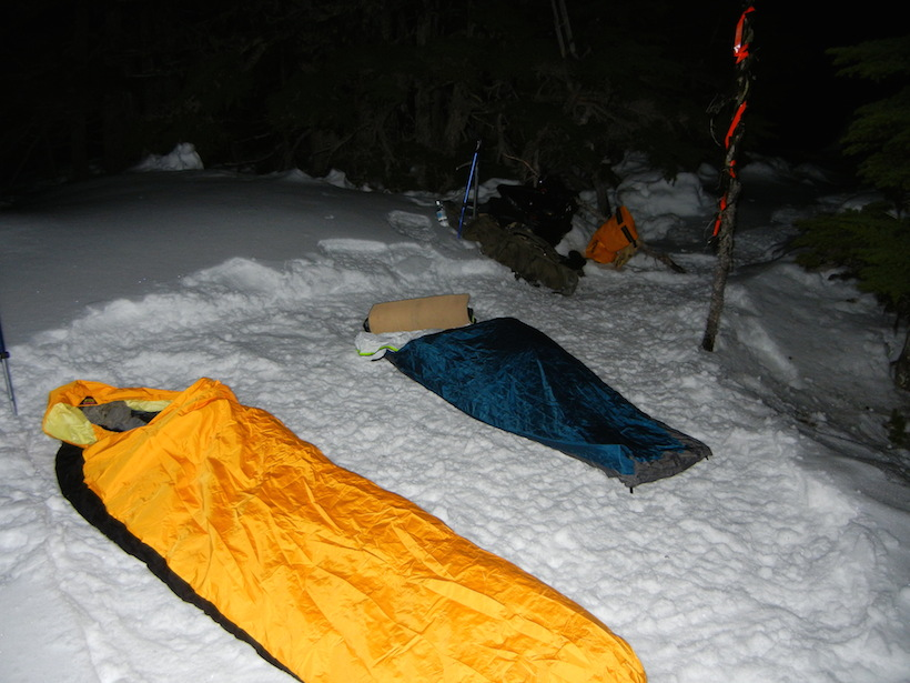 Camping on snow in bivy sac