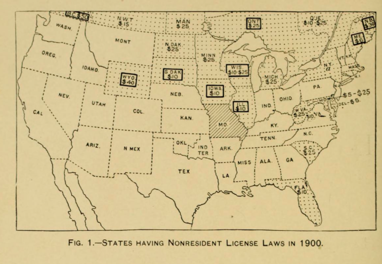 1900 states with non-resident license laws