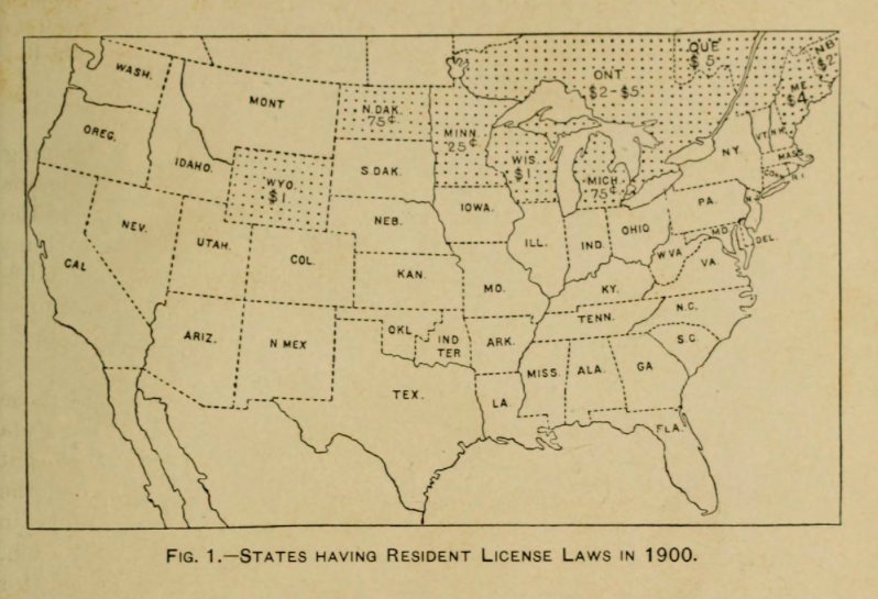 1900 states with resident license laws