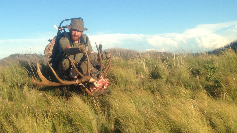 Aaron Purdy with his New Mexico elk rack