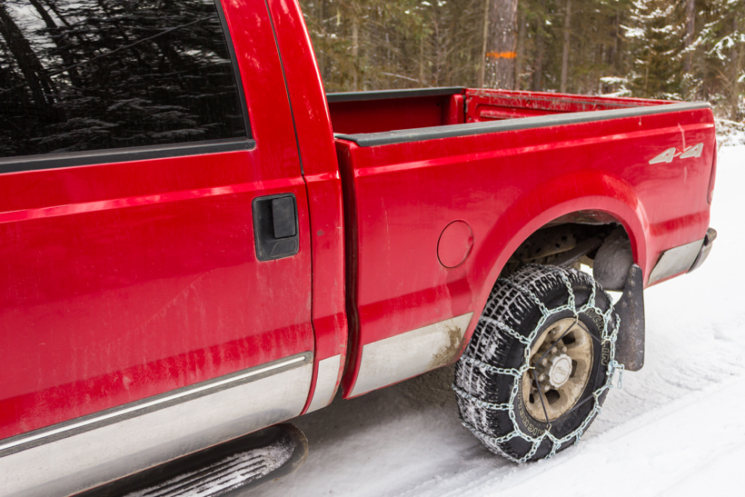 Tire chains on truck