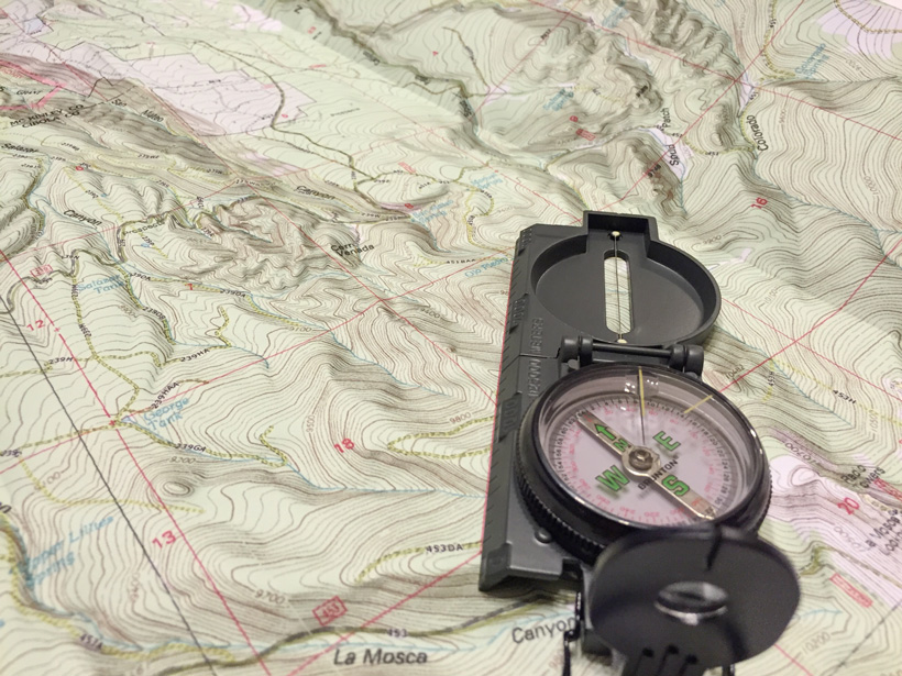 Compass orienting on map