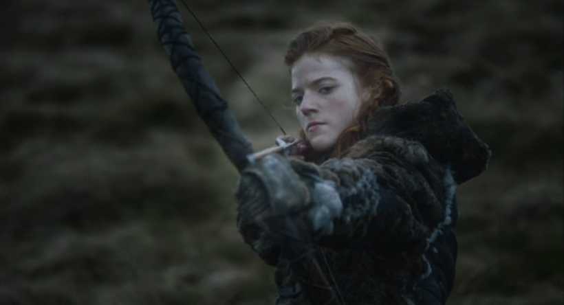 Ygritte shoots an arrow at Jon Snow after he says he loves her