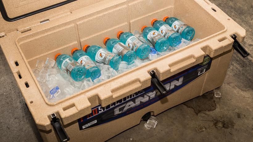 Gatorade bottles in cooler for after a hunt