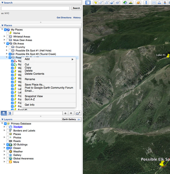 How to save your elk scouting research on Google Earth
