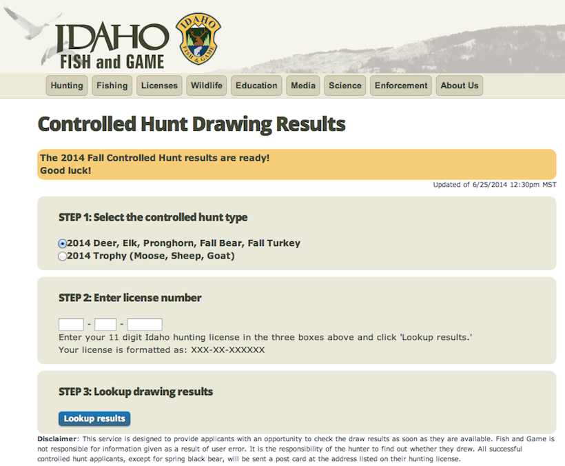 Idaho controlled hunt results