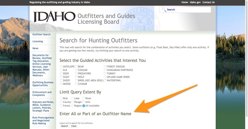 How are hunting guides and outfitters governed gohunt for Fishing license idaho