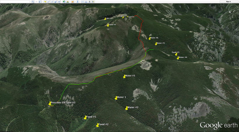 Identifying elk food sources on Google Earth