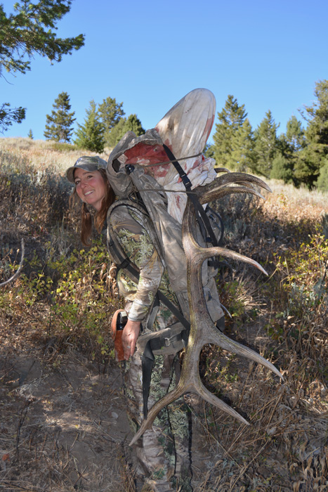 Kim Mills packing out her Idaho bull elk