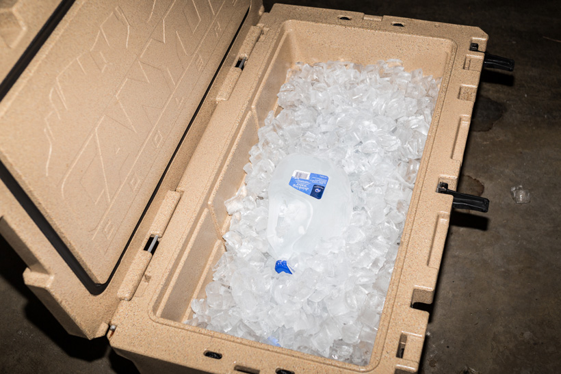 Loading the cooler up with more ice cubes