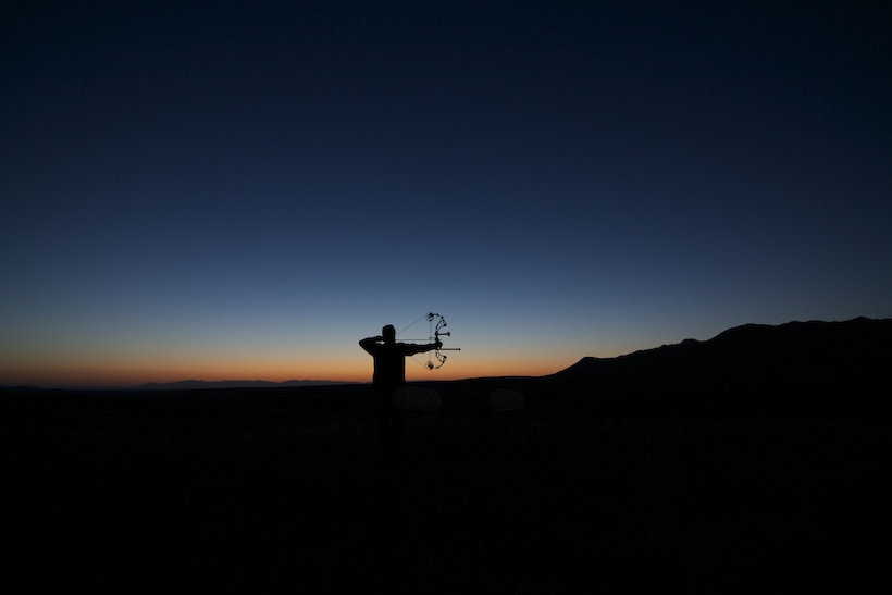 Sunset bowhunting practice
