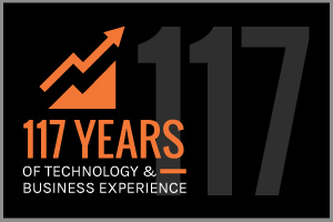 Text: 117 Years of technology and business experience